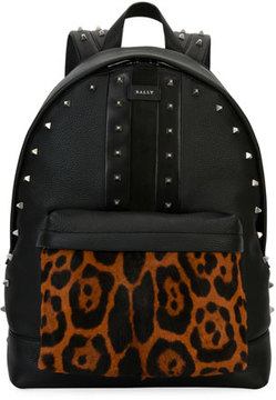Bally Hingis Studded Leather & Calf Hair Backpack