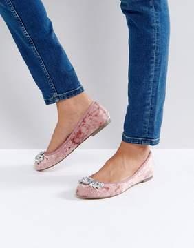 Faith Andrea Velvet Embellished Ballerina Shoes