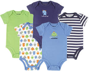Luvable Friends Blue Monster Five-Piece Bodysuit Set - Newborn & Infant