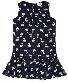 Armani Junior Girls' Swan Print Drop-Waist Dress - Little Kid