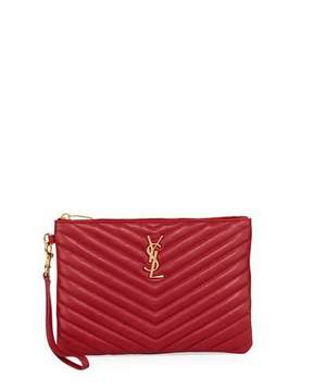 Saint Laurent Monogram Quilted Pouch Wristlet Wallet, Red - RED - STYLE