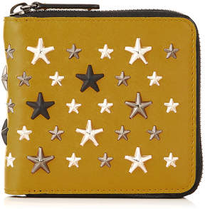 Jimmy Choo LAWRENCE Mustard Leather Zip Around Wallet with Gunmetal Multi Metal Stars