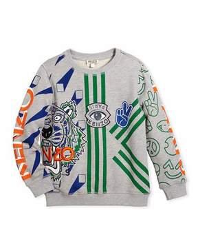 Kenzo Allover Logo Tiger Print Sweatshirt, Size 4-6