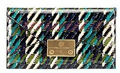 Tory Burch Juliette Printed Patent Envelope Pouch - GREEN DOGSTOOTH - STYLE