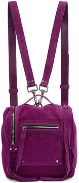 McQ Purple Suede Mini Convertible Box Backpack