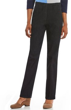 Allison Daley Lace Embellished Pull-On Straight Leg Stretch Jeans