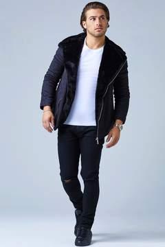 boohoo Faux Fur Lined Suedette Aviator Jacket