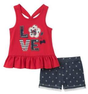 Kids Headquarters Little Girl's Two-Piece Ruffle Top and Denim Shorts Set