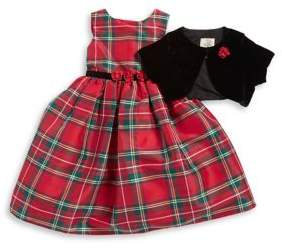 Laura Ashley Little Girl's Two-Piece Dress and Cardigan Set