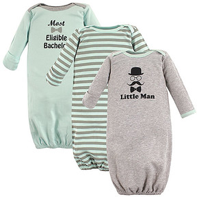 Luvable Friends Gray 'Little Man' Gown Set - Newborn