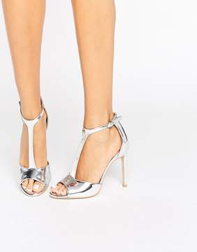 Public Desire Alex T-Bar Silver Heeled Sandals