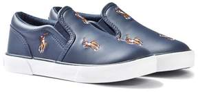 Ralph Lauren Navy Leather Bal Harbour Slip On Shoes