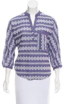 Band Of Outsiders Embroidered Three-Quarter Sleeve Top