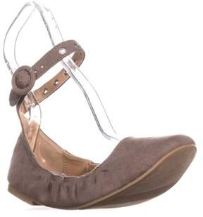 Material Girl Mg35 Francy Ankle Strap Ballet Flats, Taupe.