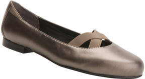 Ros Hommerson Pewter Metallic Opal Leather Flat - Women