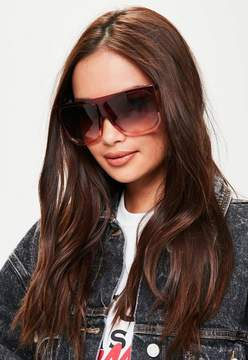 Missguided Red Flat Bar Sunglasses