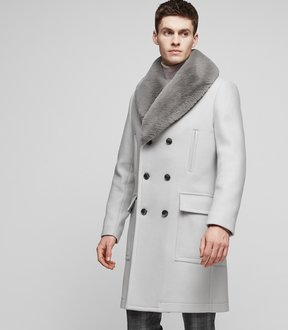 Reiss CAVALRY Faux fur collar coat