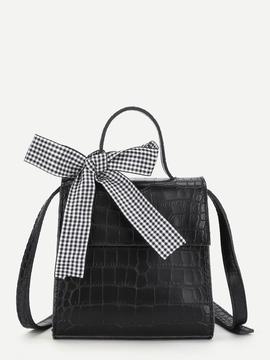 Shein Bow Tie Crocodile Print Crossbody Bag