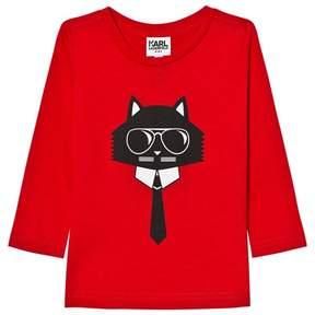 Karl Lagerfeld Red Bad Cat Print Long Sleeve Tee