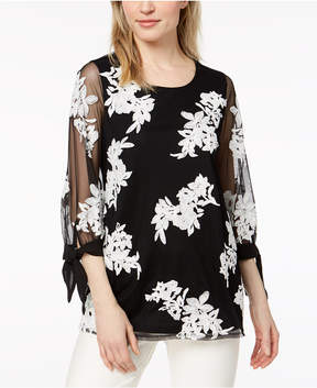 Alfani Embroidered Tie-Sleeve Top, Created for Macy's