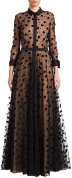 Carolina Herrera Women's Illusion Polka Dot Tulle Gown
