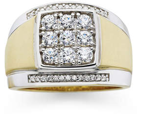 JCPenney FINE JEWELRY Mens 14K Gold-Plated Silver Cubic Zirconia Ring