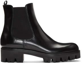 Prada Black Lug Sole Chelsea Boots