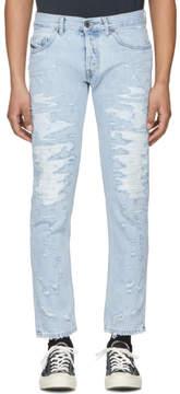 Diesel Black Gold Blue Distressed Slim Jeans