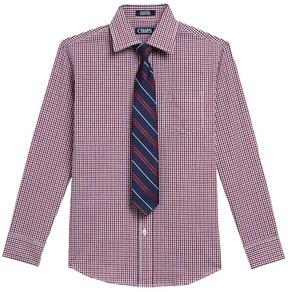 Chaps Boys 4-20 Plaid Shirt & Tie Set