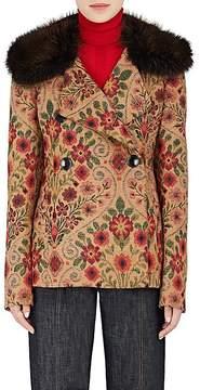 Derek Lam Women's Mink-Fur-Collar Tapestry Peacoat