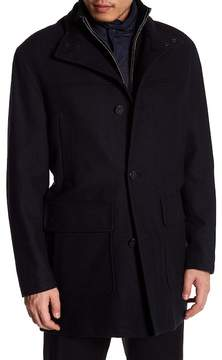 Cole Haan Wool Blend Leather Lined Car Coat