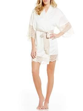 Flora Nikrooz Gabby Lace-Trimmed Charmeuse Kimono Wrap Robe
