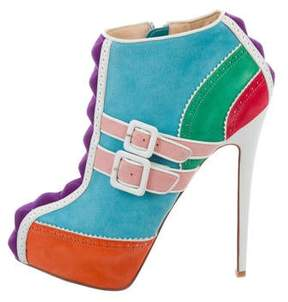 Christian Louboutin Suede Multicolor Ankle Boots