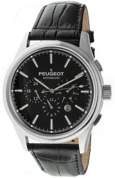 Peugeot Mens Black Dial Black Leather Strap Automatic Watch