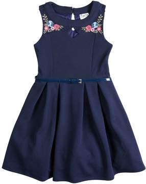 Beautees Girls 7-16 Embroidered Floral Belted Skater Dress