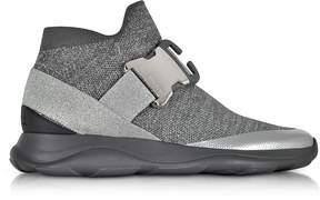 Christopher Kane High top Lurex Grey & Silver Sneaker