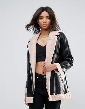 Goldie Phoenix Pu Aviator Style Jacket With Faux Fur Lining And Zipper Detail