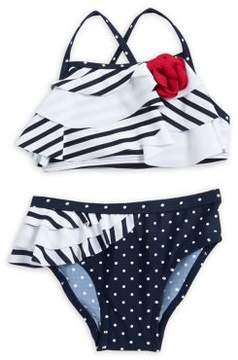 Flapdoodles Little Girl's Two-Piece Nautical Swimsuit