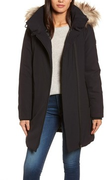 Donna Karan Women's Dkny Hooded Water Resistant Stretch Parka With Faux Fur Trim