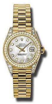 Rolex Lady-Datejust 26 Mother Of Pearl Dial 18K Yellow Gold President Automatic Ladies Watch