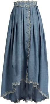 Luisa Beccaria Broderie-anglaise linen-blend skirt
