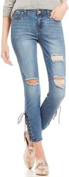 Celebrity Pink Destructed Lace-Up Ankle Skinny Jeans