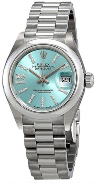 Rolex Lady-Datejust Ice Blue Diamond Dial Ladies Platinum President Watch