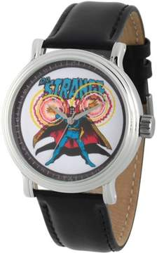 Marvel Marvel's Comics: Dr. Strange Men's Silver Alloy Vintage Watch, Black Leather Strap
