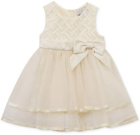 Rare Editions Embellished Basket Weave & Mesh Dress, Baby Girls (0-24 months)