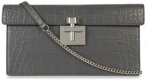 Oscar de la Renta Grey Alligator Alibi Clutch