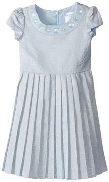 Us Angels Short Sleeve Brocade Dress w/ Pleats (Toddler/Little Kids)