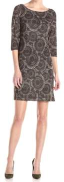 Nine West Women's Patterned 3/4 Sleeve Shift Dress