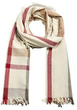 MANGO Stripe-pattern cotton scarf
