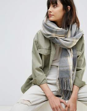 Asos Oversized Long Scarf in Natural Check with Tassels